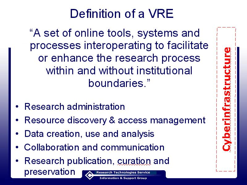 Definition Of A Virtual Research Environment